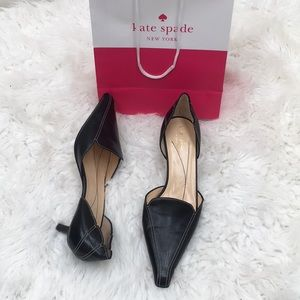 NEW Kate Spade ♠️ pointed toe black leather heels